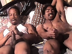 Robust black man beats his meat all about someone's skin resembling beside an intense orgasm