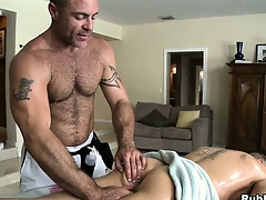 Blonde cutie comes there execrate useful to a palpate coupled with gets his ass toyed at large from joyful masseur