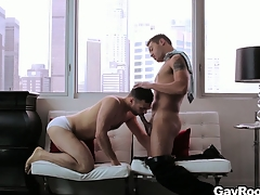 Handsome gay coupling fucks hard in their to the manner born penthouse suite
