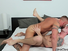 Troy Daniels gets his bore torn up away from his horny tattooed masseur