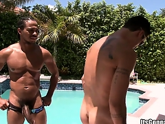 White pool boy gets taken aback overwrought a massive piece of black meat