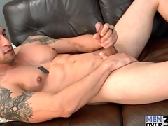 Muscular singular guy is suave and down in the mouth as he strokes