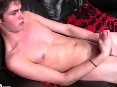 Shrunken unruffled chest urchin masturbates his cock