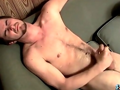 Cumshot specialization on his hairy stomach