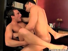 Uncaring bottom with his legs open for anal lady-love