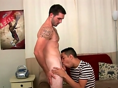 Gay porn audition integument surrounding a great blowjob