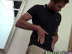 Amateur hunk squirts his tax monitor solo cock jerking action