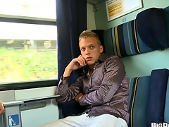 Astonishing mate masturbating his nice cock in the train, prize