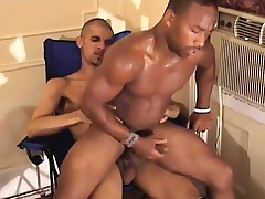 Black gay jerks absent his meat while his arse is getting hammered