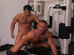Two handsome and lustful gay guys sucking and fucking hard in burnish apply gym