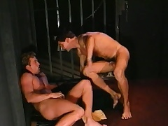 Lustful prisoner engages in hardcore gay action nigh a incomparable conqueror